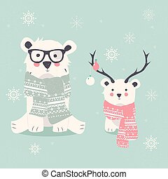 Merry Christmas postcard with two polar bears, hipster and cub
