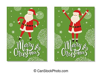 Merry Christmas Postcards with Santa Claus Winter