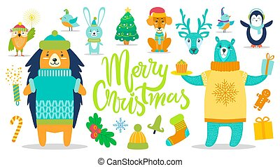 Merry Christmas Poster Animals Vector Illustration