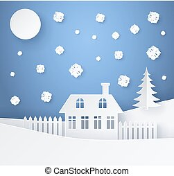 Merry Christmas Poster Made of Paper with House
