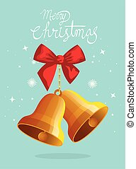 merry christmas poster with bells and bow ribbon