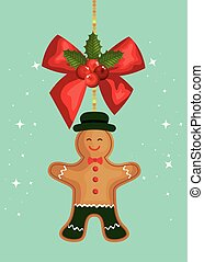 merry christmas poster with bow and ginger cookie hanging