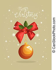 merry christmas poster with bow ribbon and ball hanging