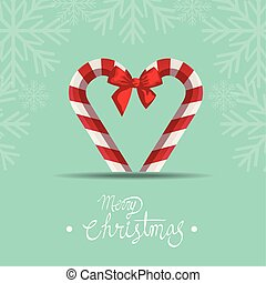 merry christmas poster with canes and bow ribbon