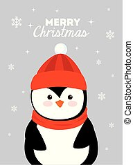 merry christmas poster with penguin
