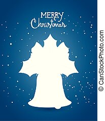 merry christmas poster with silhouette of bell