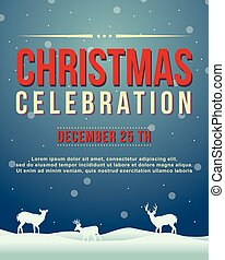 Merry Christmas poster with snow