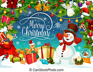 Merry Christmas poster with snowman and gift boxes