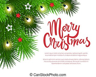 Merry Christmas Poster with Text and Pine Branches