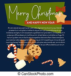 Merry Christmas poster with text sample and symbols