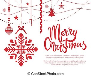 Merry Christmas Poster with Text Sample Baubles