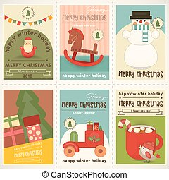 Merry Christmas Posters Set - Merry Christmas Retro Posters...