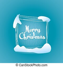 Merry Christmas quadrate greeting card - Text label Merry...