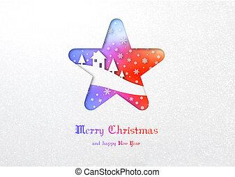 Merry Christmas rainbow star winter card