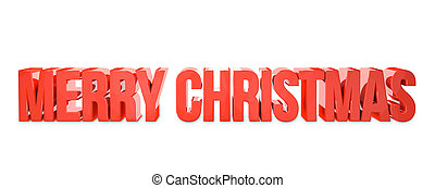 merry christmas red 3d render symbol