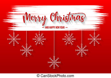 Merry christmas red background with snowflake and christmas hat vector
