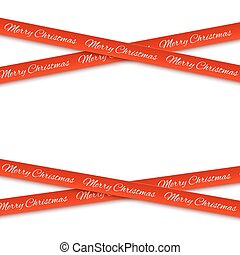 Merry Christmas red banners isolated on white background.