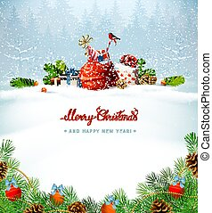 Merry Christmas red calligraphy inscription. Festive symbols on the Holiday background.