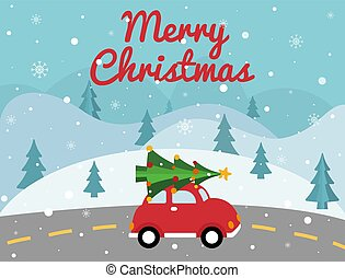Merry Christmas red car with xmas tree on the top. Christmas card with winter landscape, road, retro pickup, xmas tree. Bright holiday design. Vector illustration