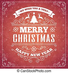 Merry Christmas red card with frame