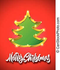 Merry Christmas red card with handdrawn calligraphic lettering and green fir tree sign with golden border, shadows and sparkles