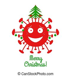 Merry Christmas. Red cartoon coronavirus bacteria with green christmas balls and fir tree on the top. Isolated on a white background. Vector stock illustration.
