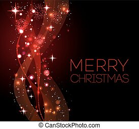 Merry Christmas red greeting  card with snowflakes