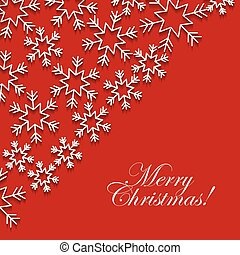 merry christmas red greeting card with white snowflake