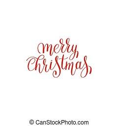 merry christmas red handwritten lettering inscription...