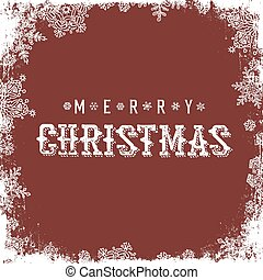 Merry Christmas Red Postcard. Snowflakes white frame isolated. Vector illustration