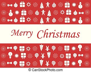 Merry Christmas red poster with snowmen, Christmas trees and presents