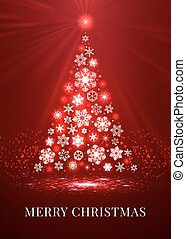Merry christmas red snowflakes tree