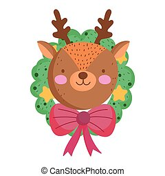 merry christmas, reindeer face in wreath decoration icon isolation