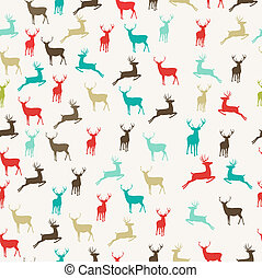 Merry Christmas reindeer seamless pattern background
