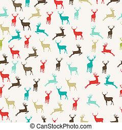 Merry Christmas reindeer seamless pattern background