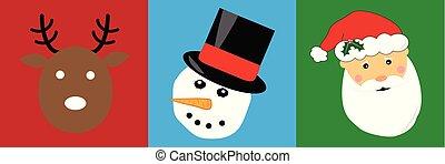 Merry Christmas Reindeer Snowman Santa