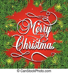 Merry Christmas retro background with fir branches. Vector illustration. EPS