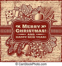 Merry Christmas Retro Card Brown