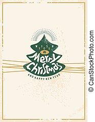 Merry Christmas retro card design template