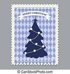 Merry Christmas retro postage stamp with Christmas tree. Vector illustration isolated