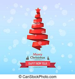 Merry Christmas ribbon tree cover card.