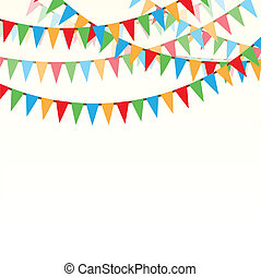 Merry christmas ribbons - Yellow background with color flags...