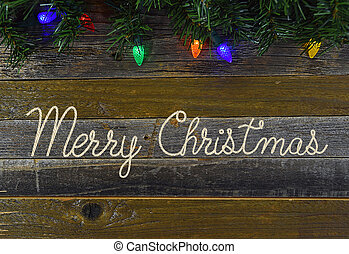 Merry Christmas Rope On Rustic Wood