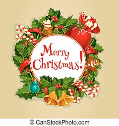 Merry Christmas round poster with xmas decoration