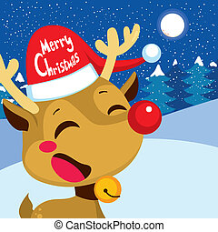 Merry Christmas Rudolph - Cute happy red nose reindeer...