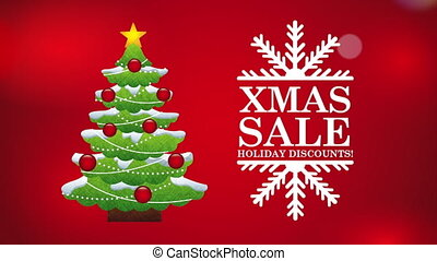 merry christmas sale animation with pine tree , hd video
