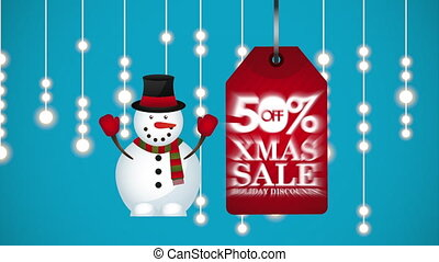 merry christmas sale animation with snowman , hd video