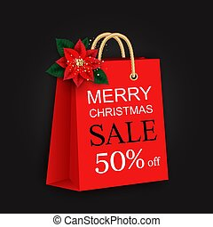 Merry Christmas sale banner with bag and poinsettia flower...