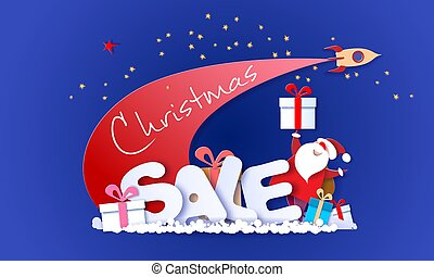 Merry Christmas Sale design card with Santa Claus