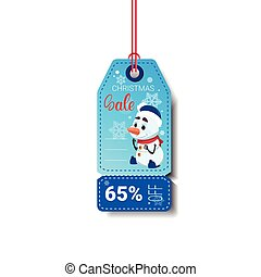 Merry Christmas Sale Tag With Snowman Isolated On White Background